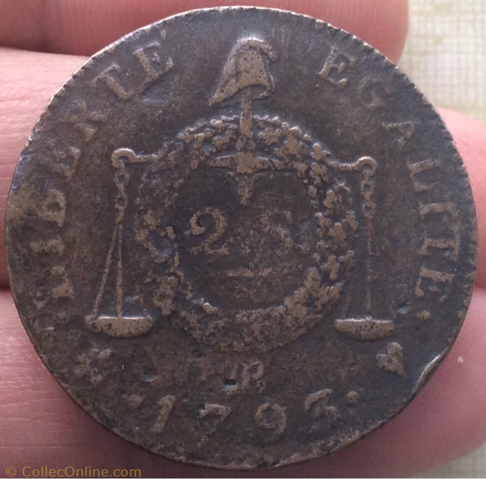 monnaie france moderne 2 sols a la balance 1793 bb strasbourg