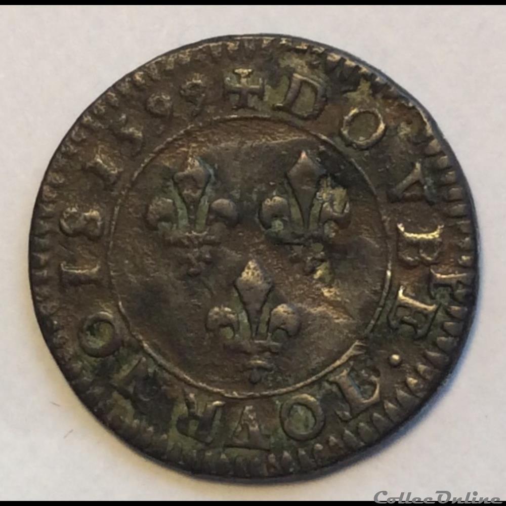 monnaie france royale double tournois 1599 a paris faute double henri iiii cgkl 222