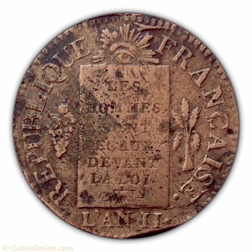 monnaie france moderne 1 sol dit a la table de loi la convention 1793 bb strasbourg type francais