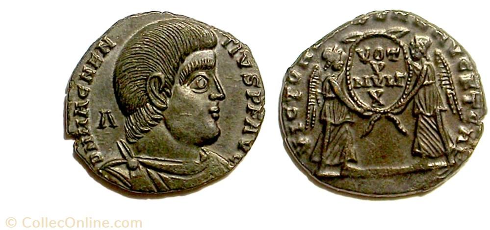 munzen antike vor j bi nach romische vict dd nn avg et caes trier