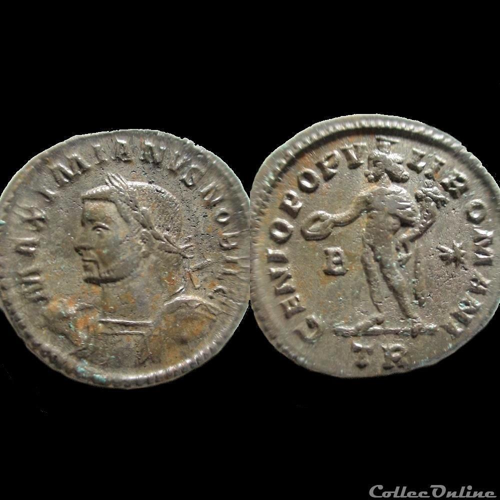 monnaie antique av jc ap romaine follis galere 299 treves tr b