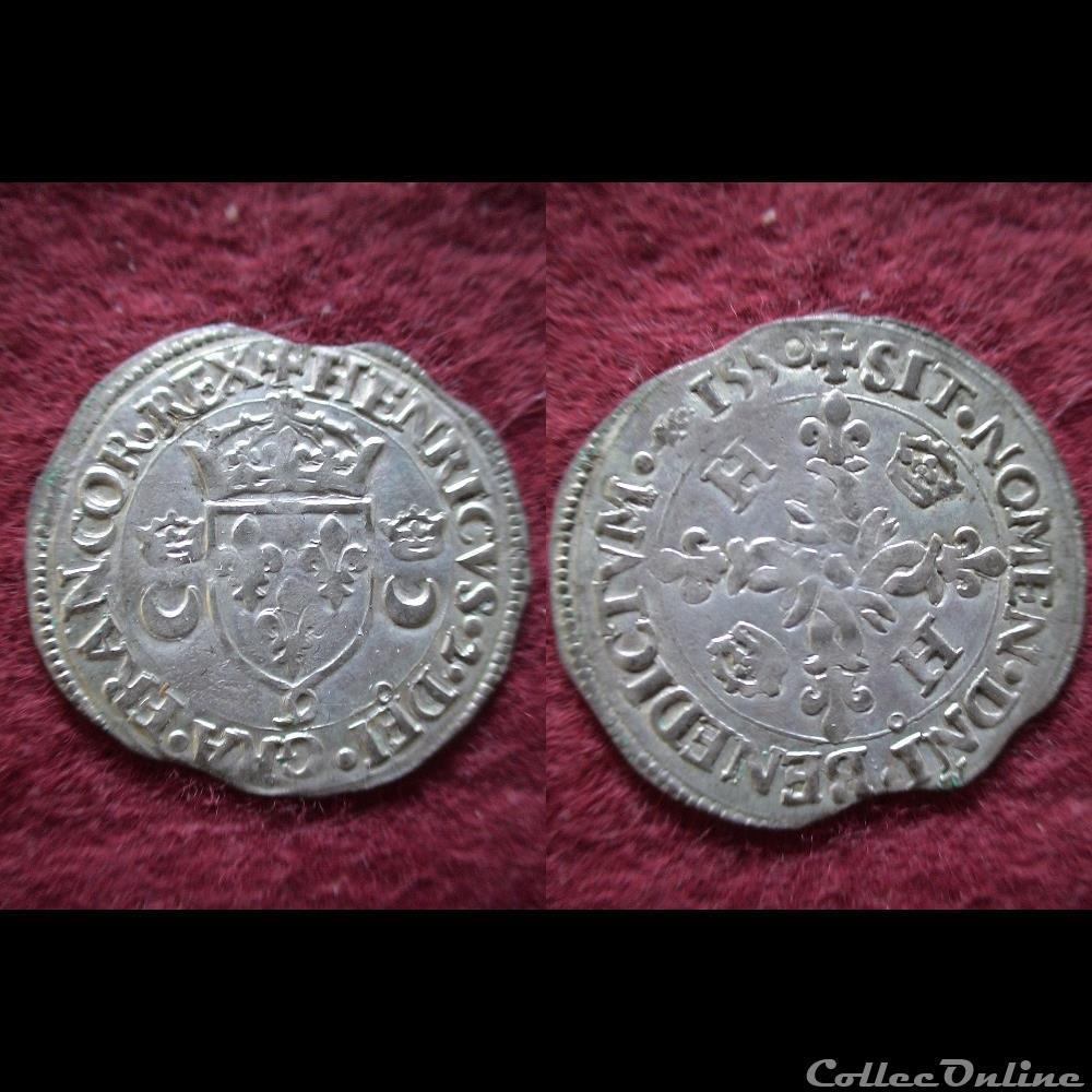monnaie france royale douzain aux croissants henri ii 1550 rennes