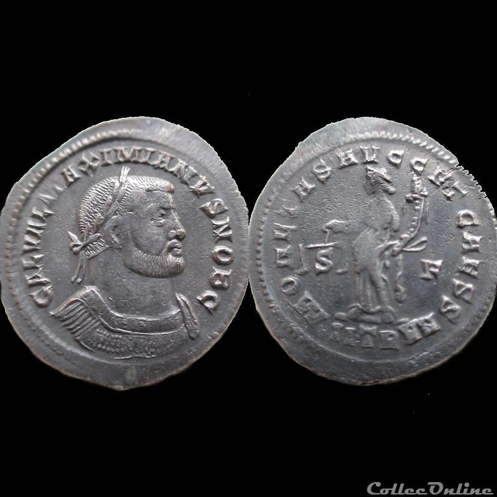monnaie antique av jc ap romaine follis galere 303 treves iitr s f