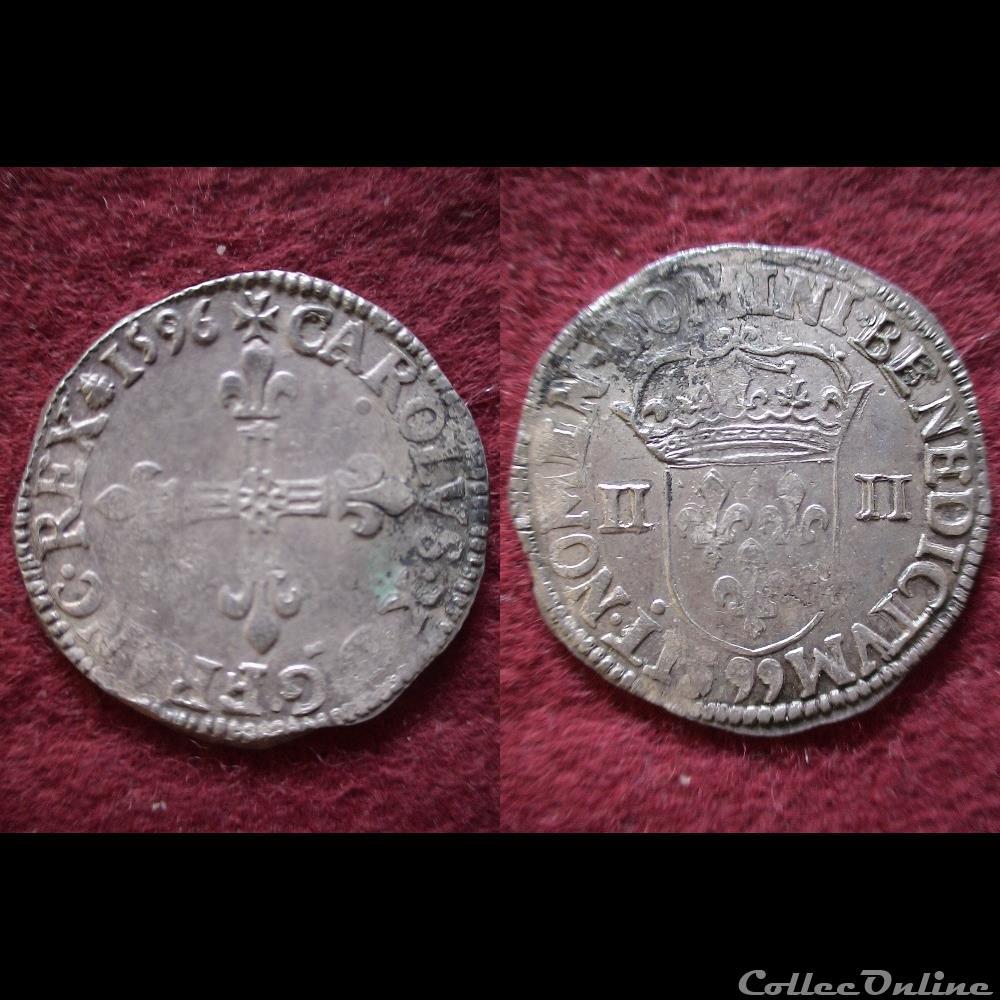 monnaie france royale quart ecus charles x 1596 dinan