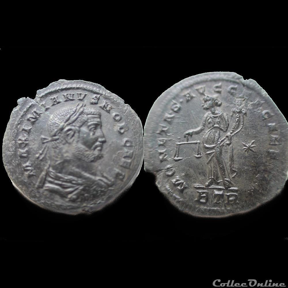 monnaie antique romaine follis galere 301 treves btr