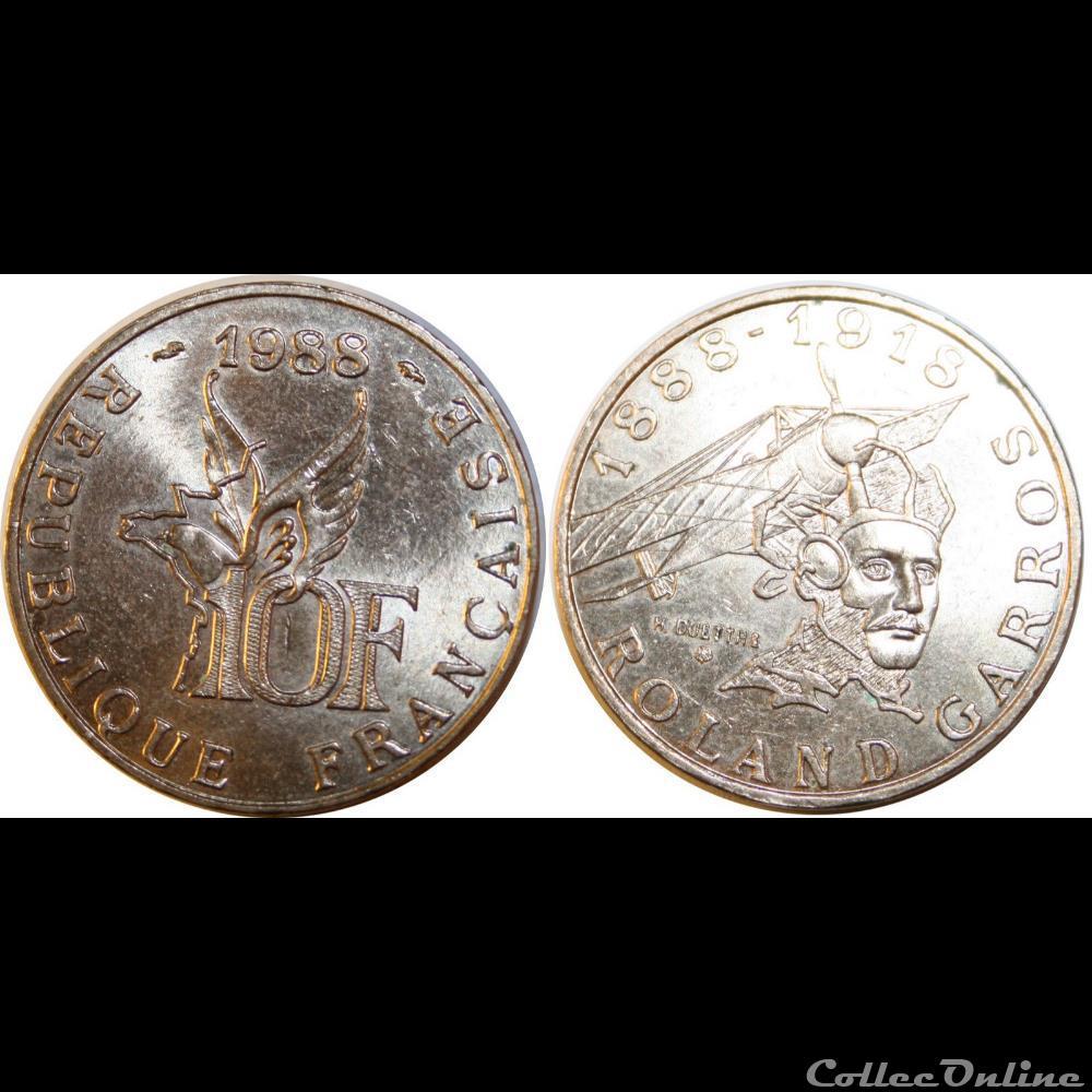 monnaie france moderne 10 francs roland garros 1988