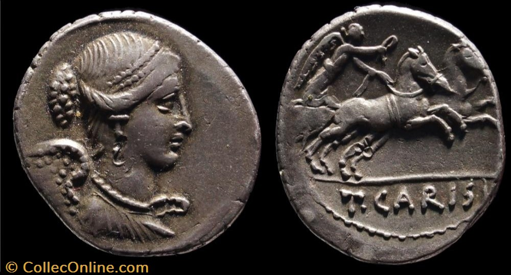 monnaie antique av jc ap romaine republicaine imperiale carisia denier