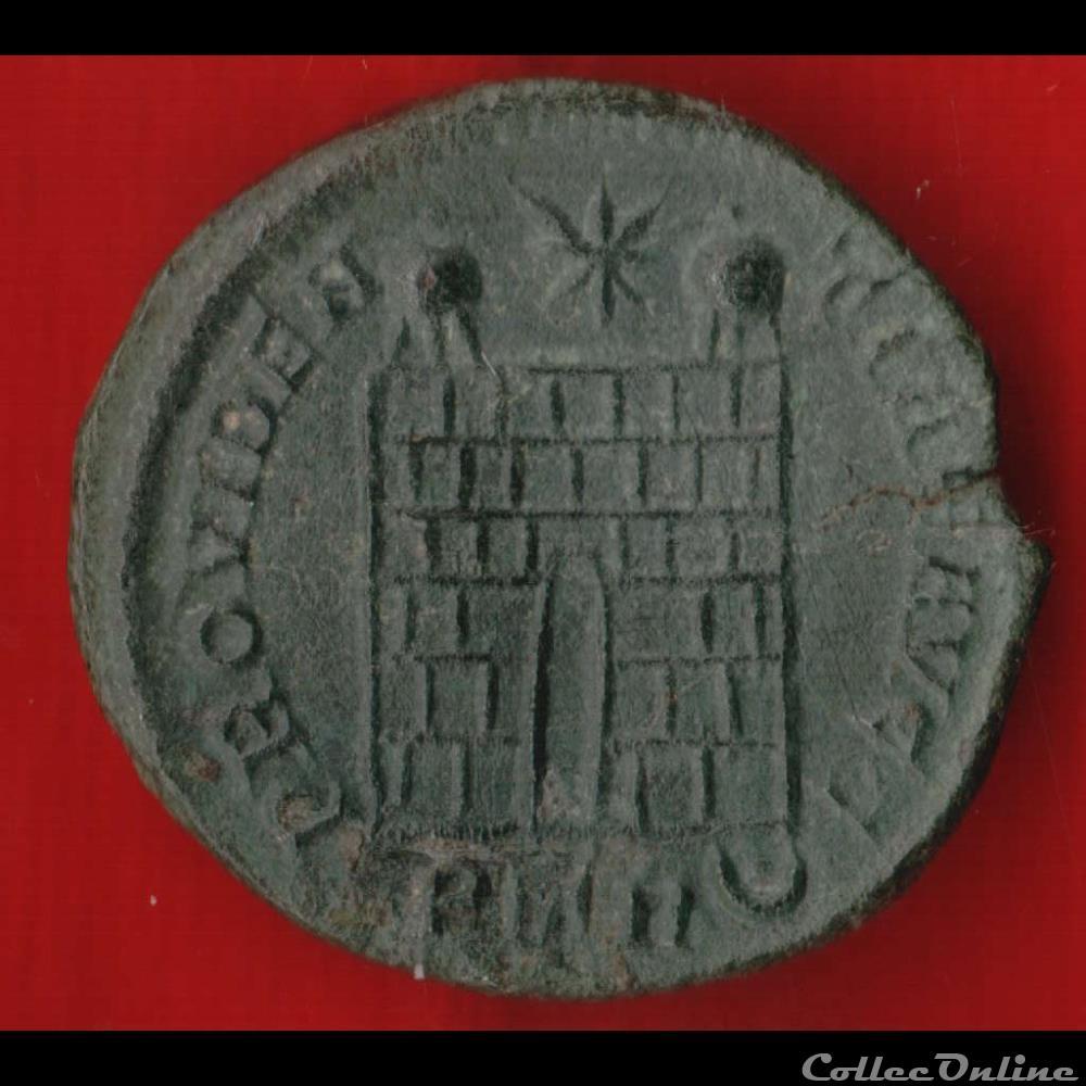 monnaie antique av jc ap romaine constantin ier nummus ou centenionalis porte de camp