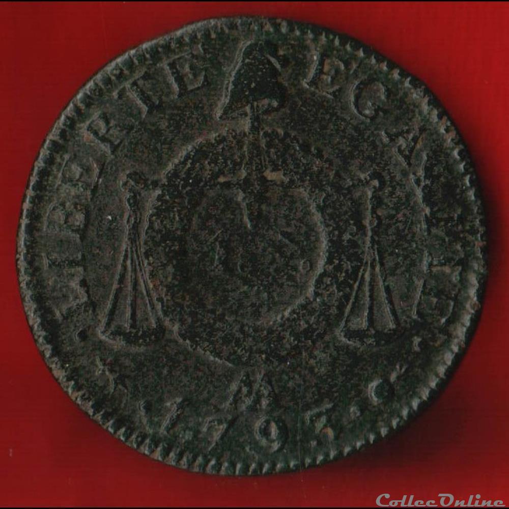 monnaie france moderne la convention 1 sol 1793 metz