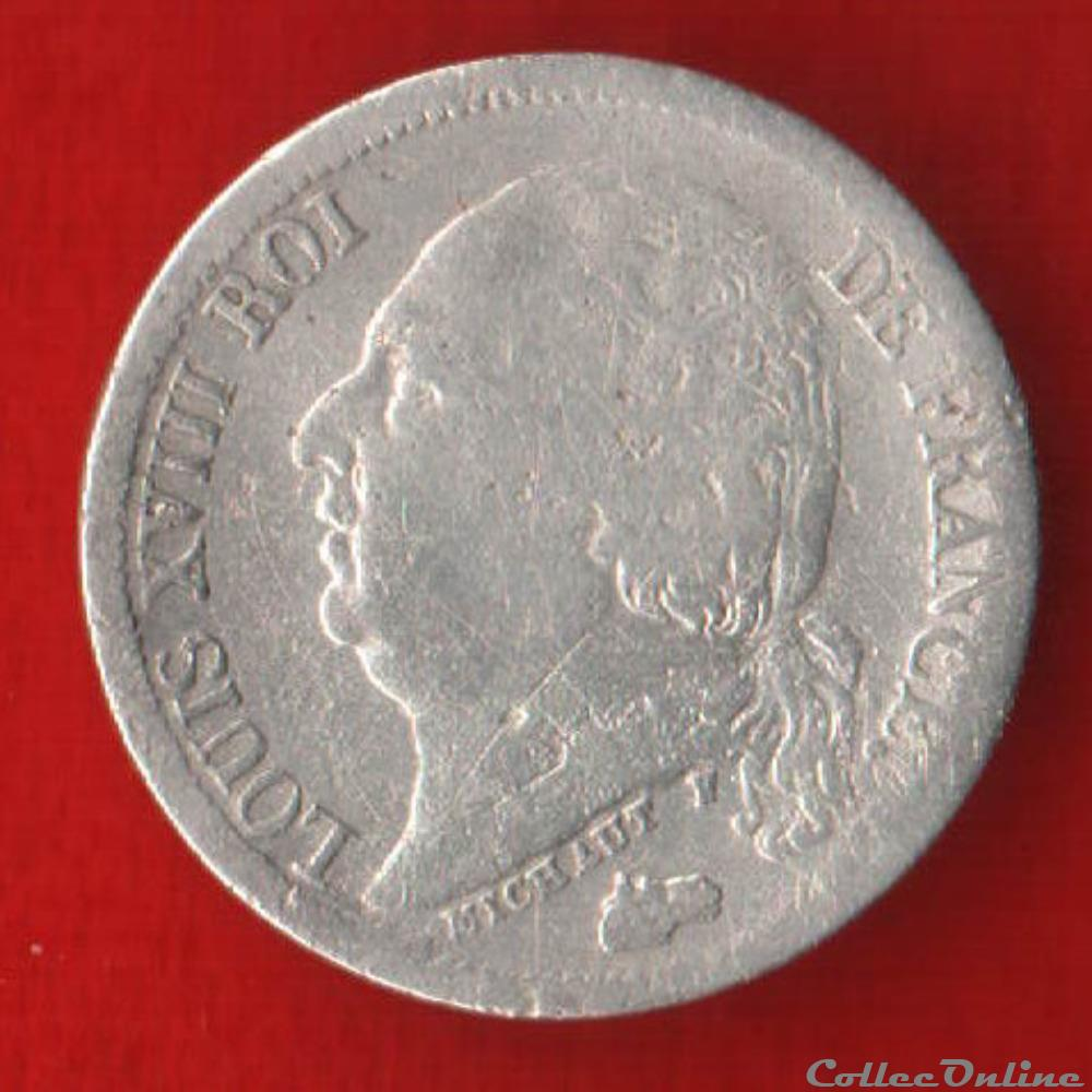 monnaie france moderne louis xviii 1 2 franc 1824 paris