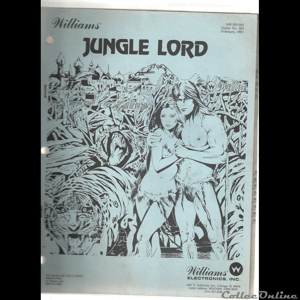 manuel pinball flipper JUNGLE LORD Williams 1981 : Toys and