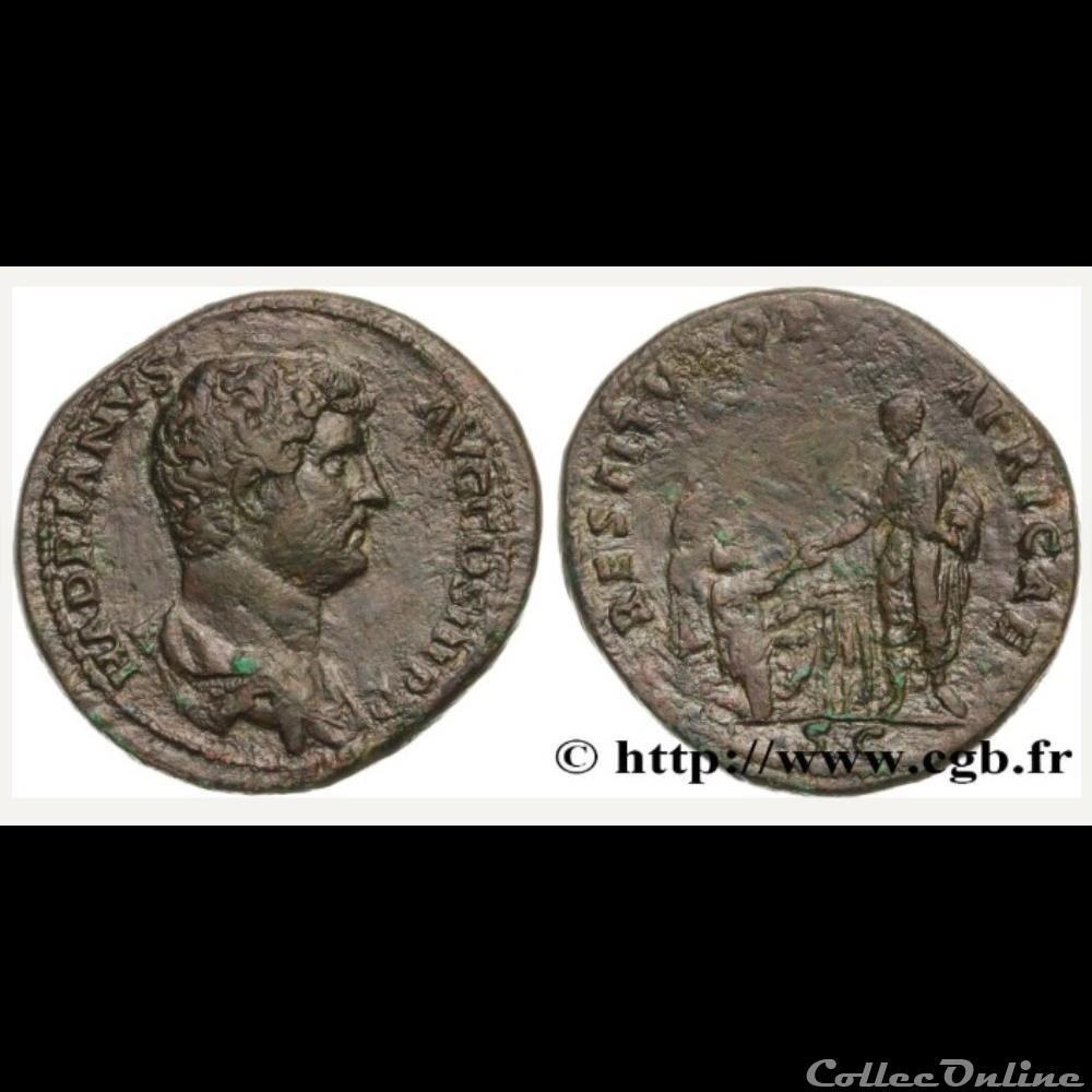monnaie antique romaine hadrien restitvtori africae dupondius
