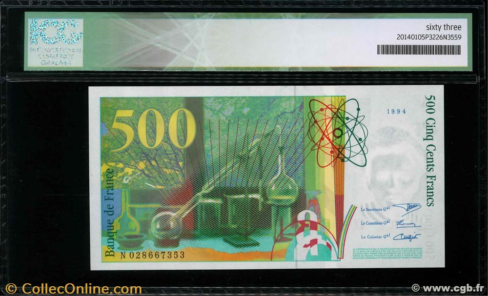 billet europe f 76 500 francs pierre et marie curie france 1994