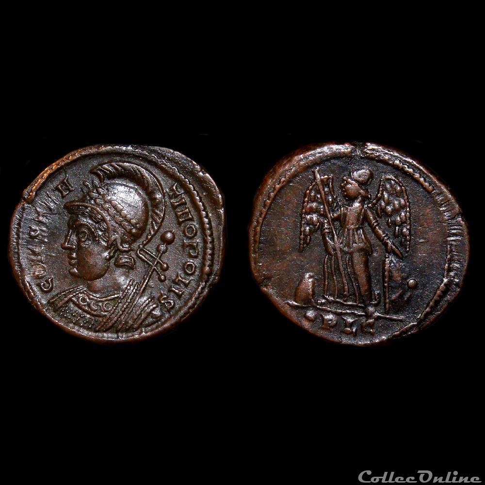 monnaie antique jc ap romaine imperiale nummus avec constantinople lyon ric 246 r2