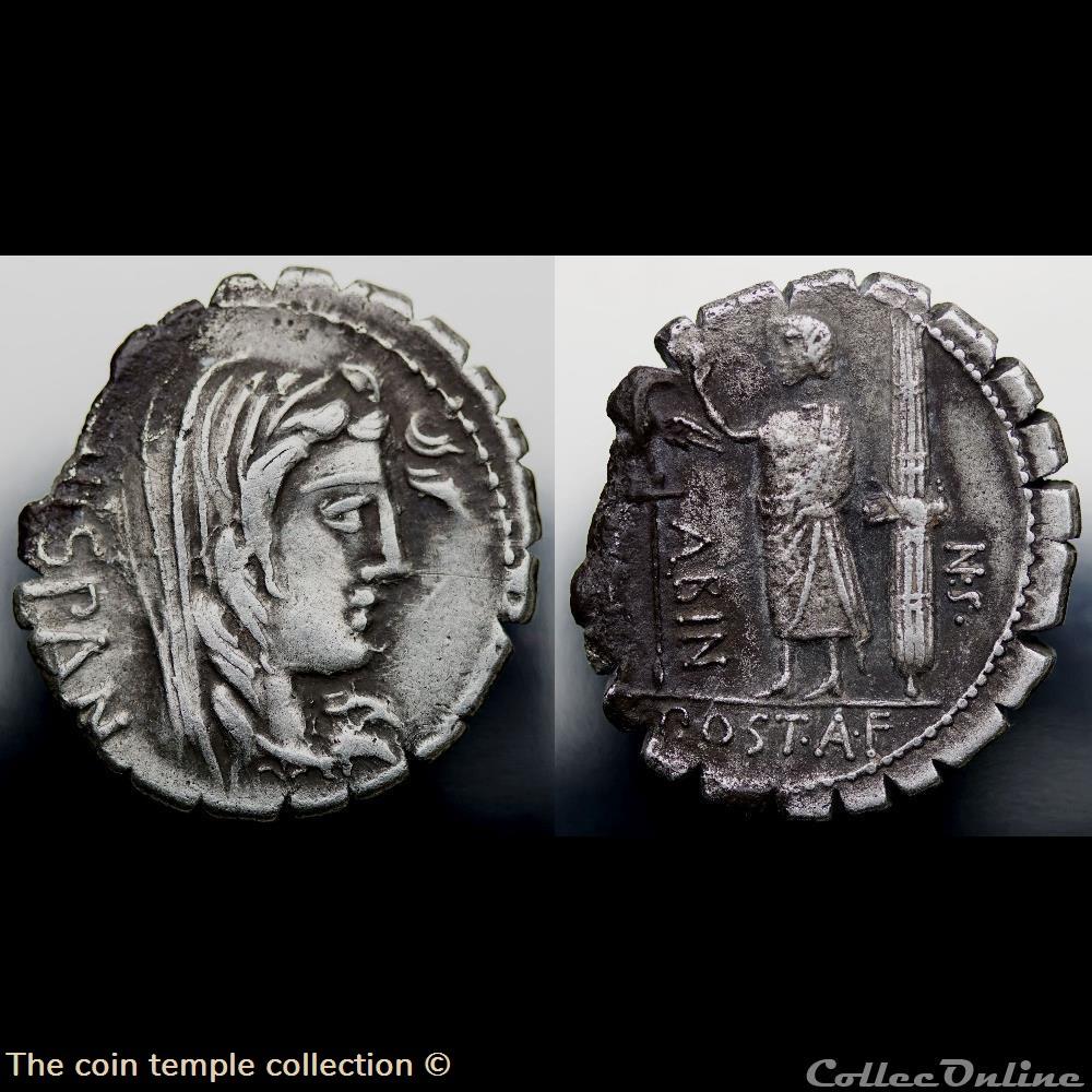 munzen antike vor j nach romische crawford 372 2 a post a f s n albin a postumius albinus