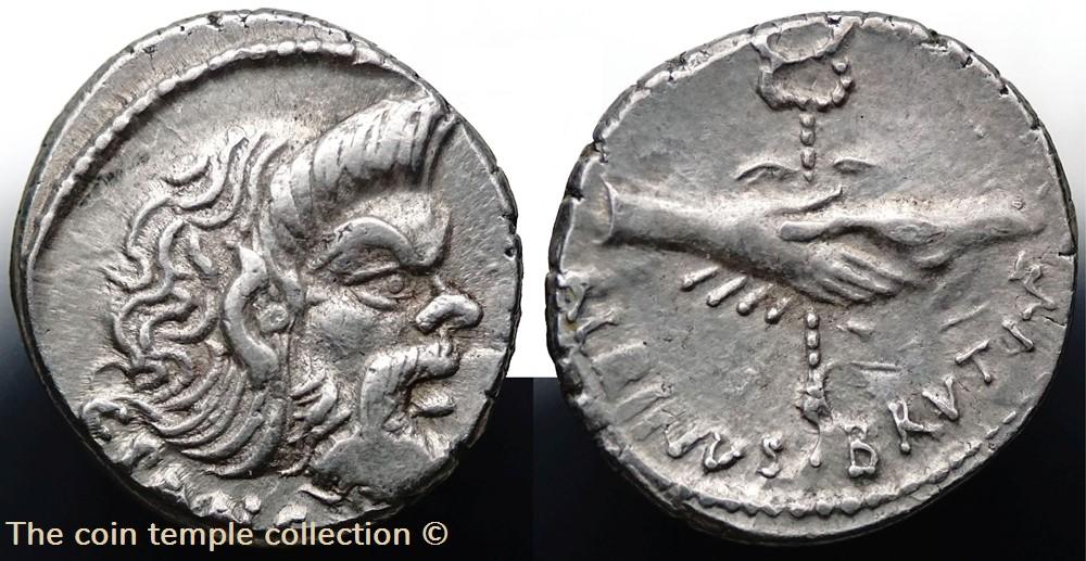 munzen antike vor j nach romische imperial crawford 451 1 albinvs brvti f c pansa d postumius albinus c vibius c f c n pansa denar