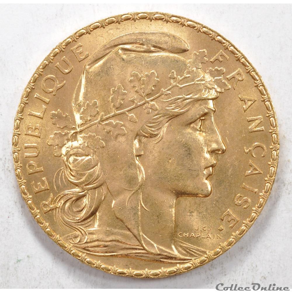 20 Francs Coq Liberté égalité Fraternité 1912 Münzen Französische