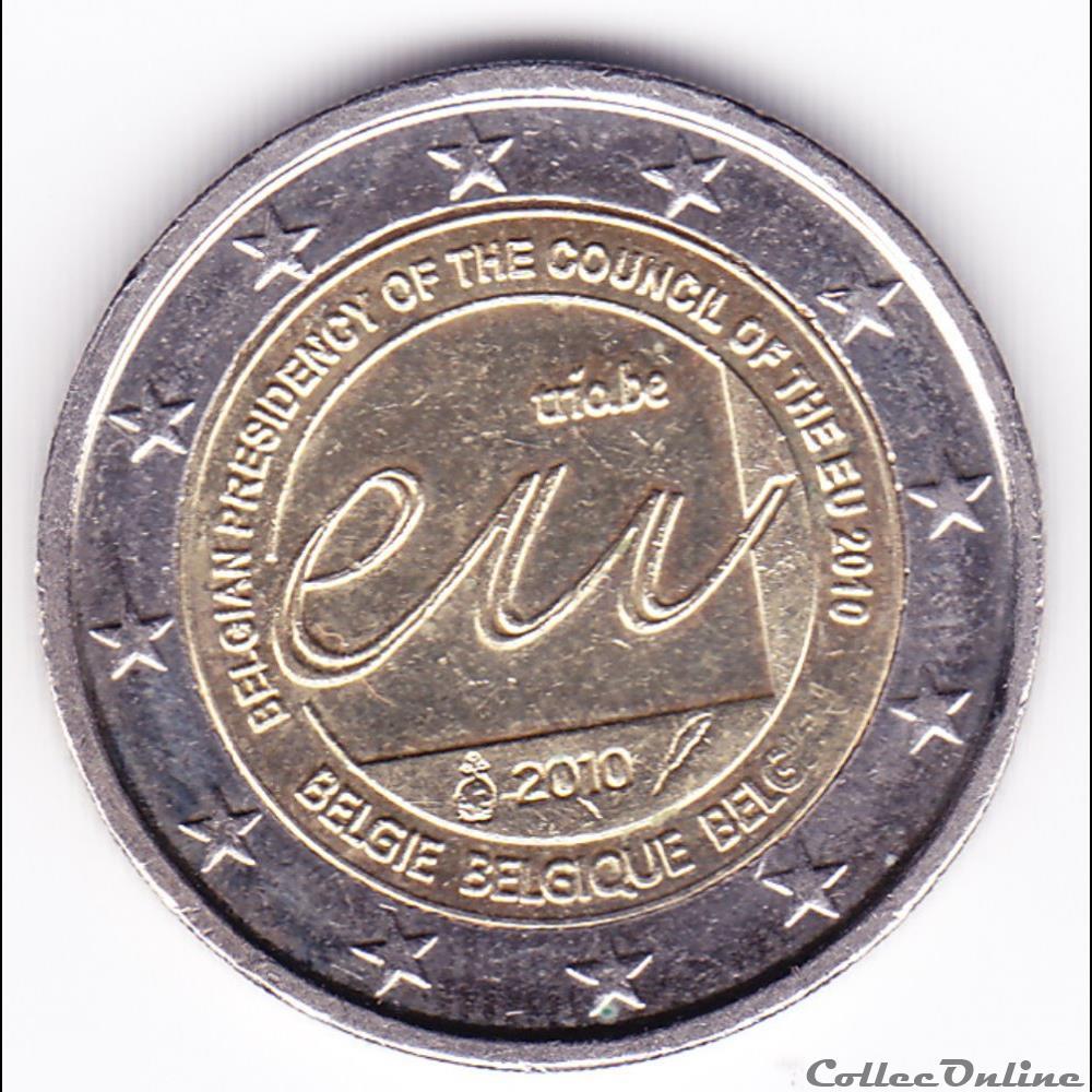 monnaie belgique piece 2 euros presidence belge du conseil de l union europeenne en 2010