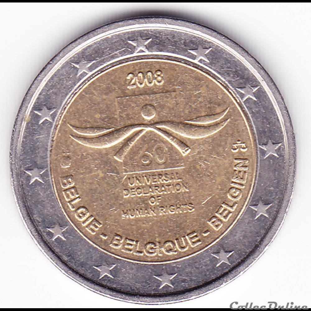 monnaie belgique piece 2 euro 60e anniversaire de la declaration universelle des droits de homme