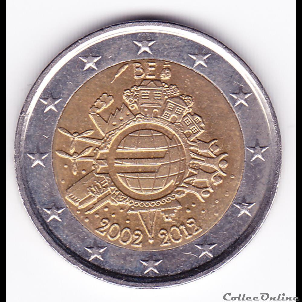 monnaie belgique piece 2 euros 10e anniversaire de introduction des billets et pieces en euro