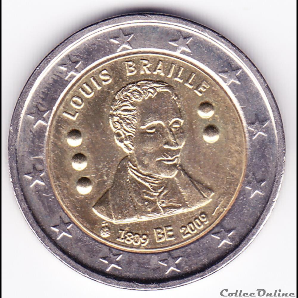 monnaie belgique piece 2 euros 200e anniversaire de la naissance de inventeur francais louis braille