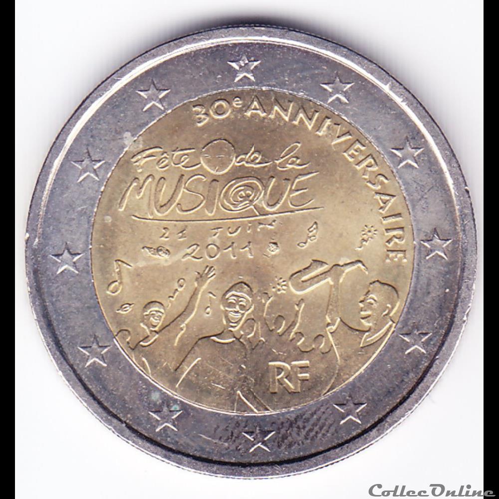 monnaie france piece 2 euros 30ieme anniversaire de la fete de la musique
