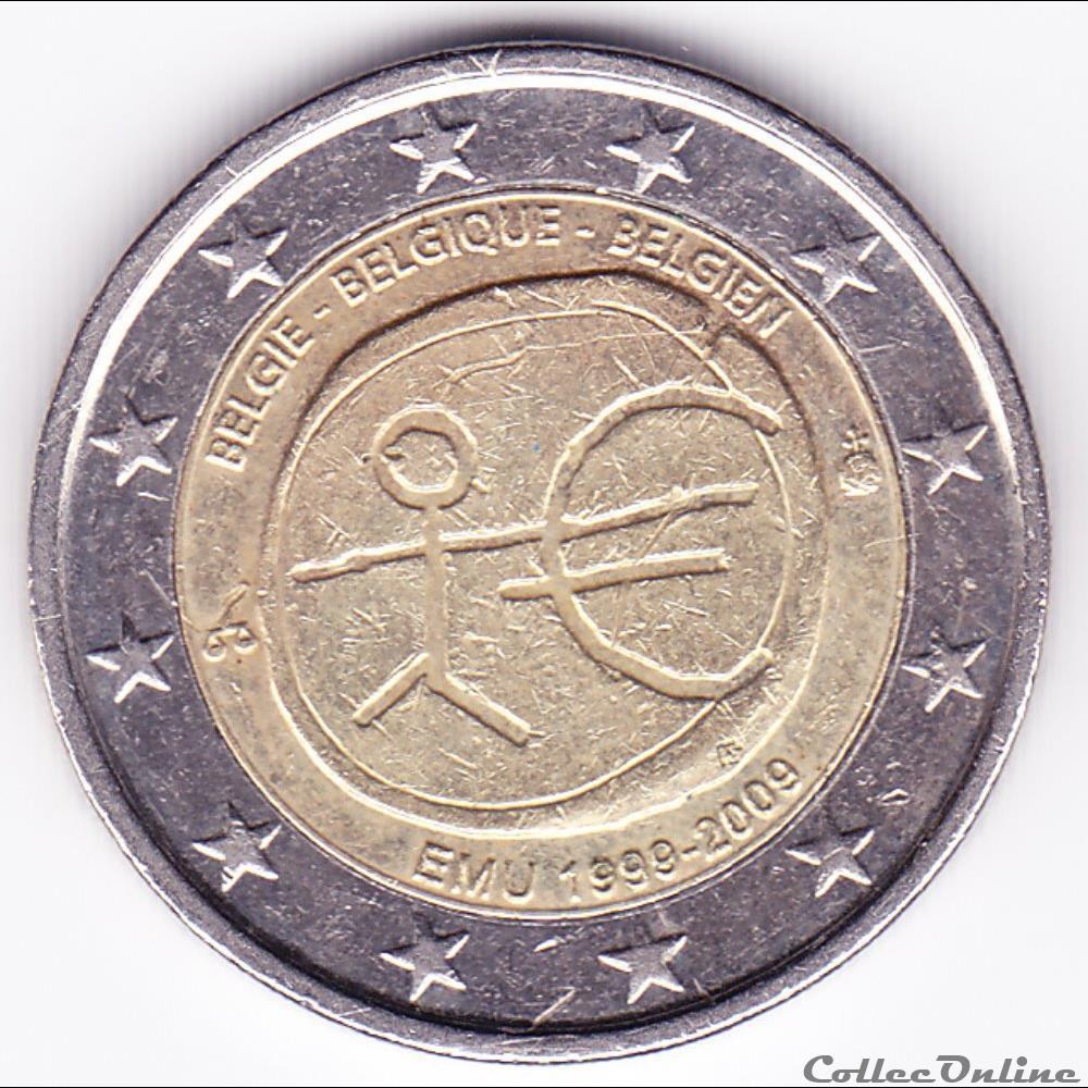 monnaie belgique piece 2 euros 10e anniversaire de union economique et monetaire