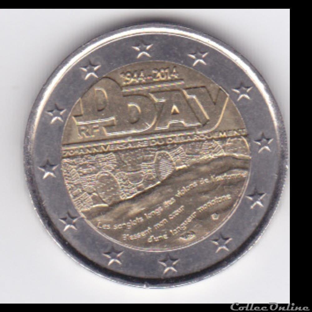 monnaie france piece 2 euros 70e anniversaire du debarquement de normandie