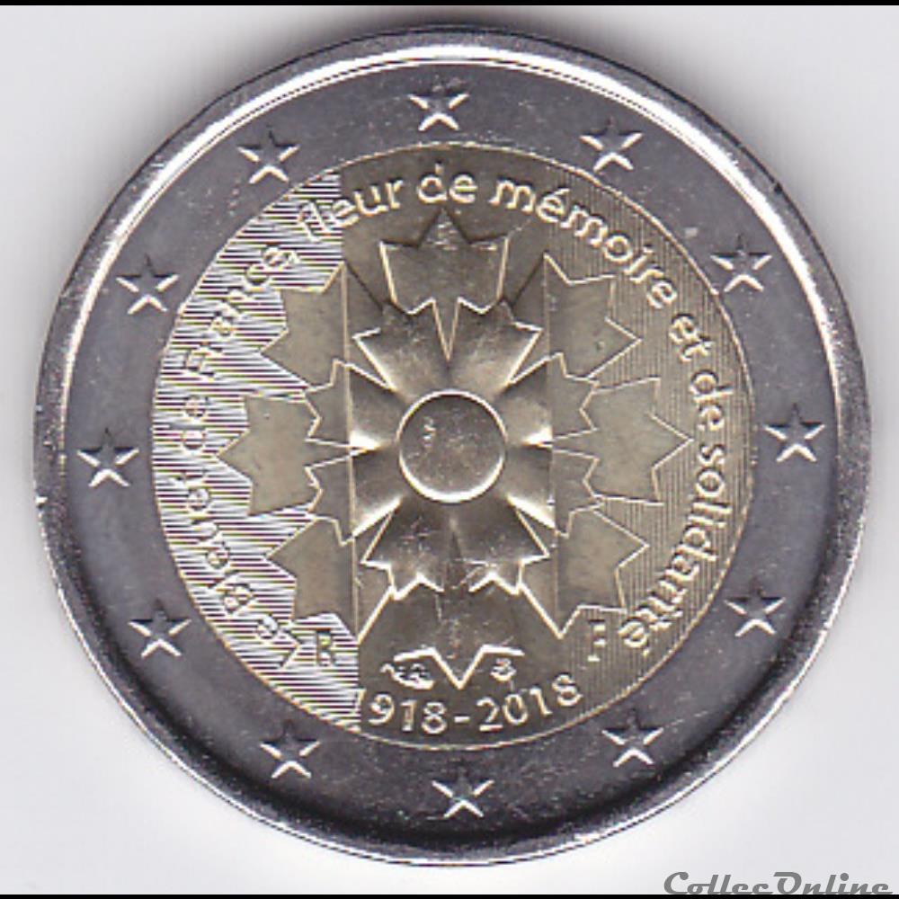monnaie piece 2 euros le bleuet de france fleur de memoire et de solidarite