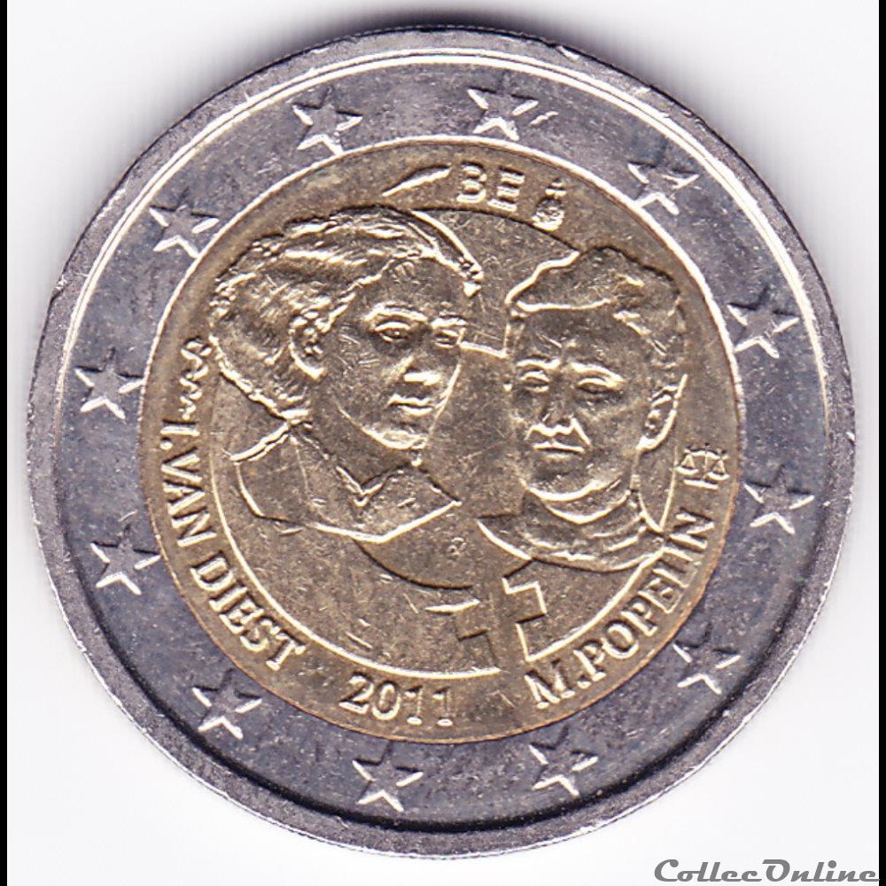 monnaie belgique piece 2 euros 100e anniversaire de la journee internationale des droits de la femme