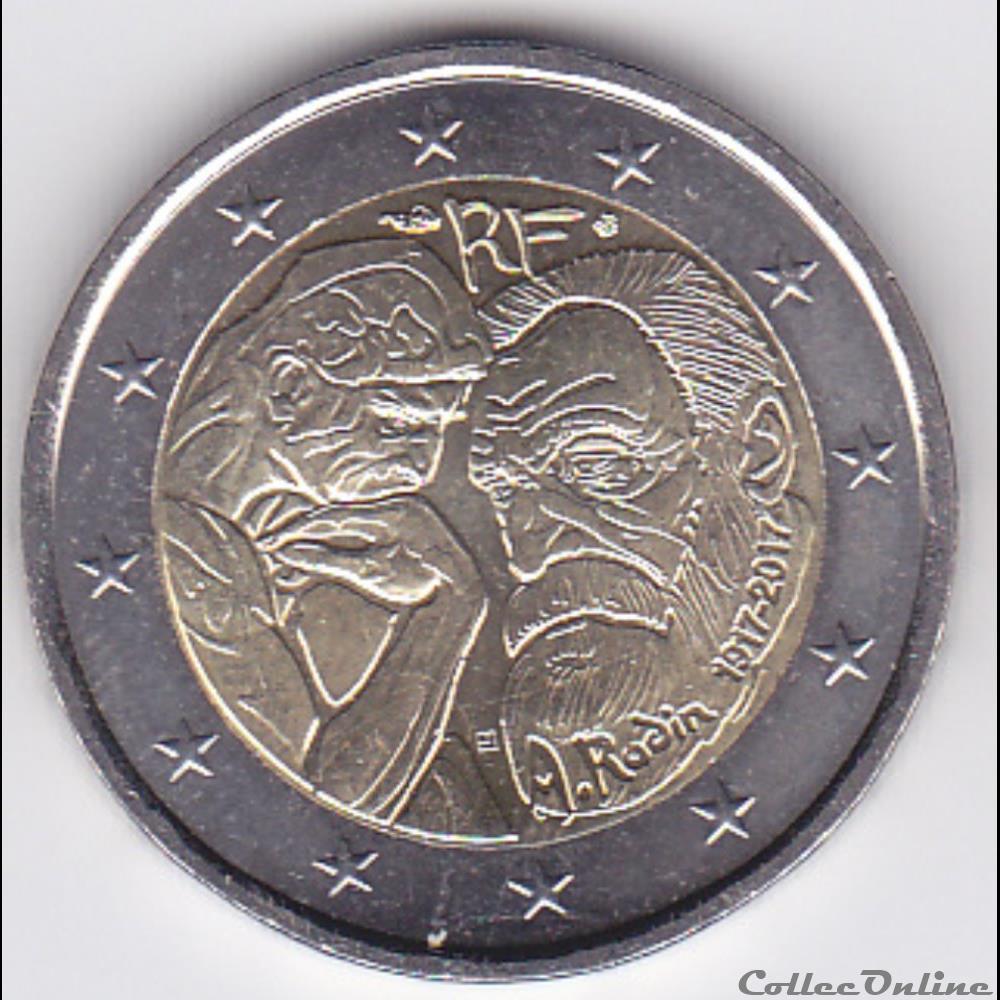 monnaie france piece 2 euros 100e anniversaire de la mort du sculpteur francais auguste rodin