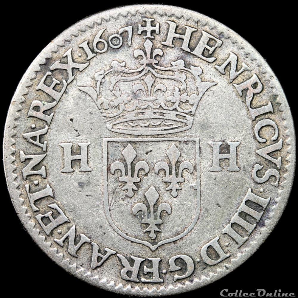 monnaie france royale henri iv 1589 1610 piefort double du douzain aux deux h 1607 a