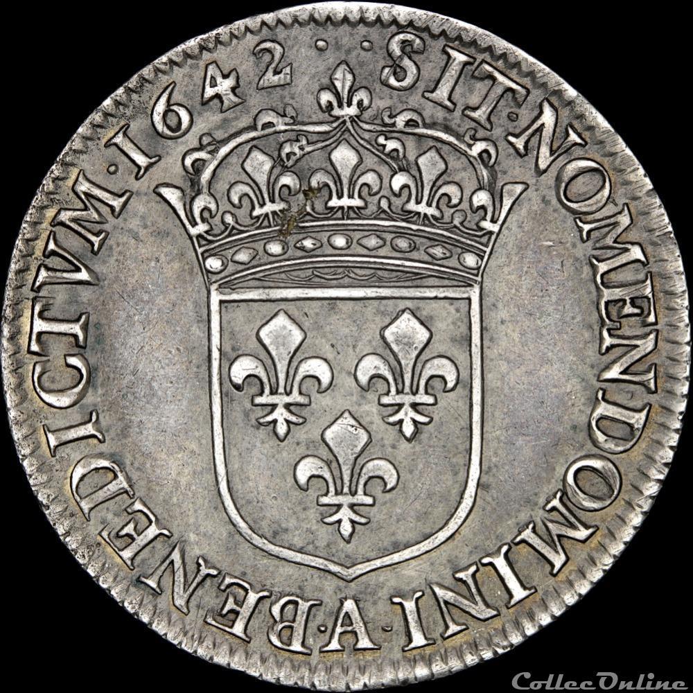 monnaie france royale louis xiii 1610 1643 quart ecu 1642 a paris
