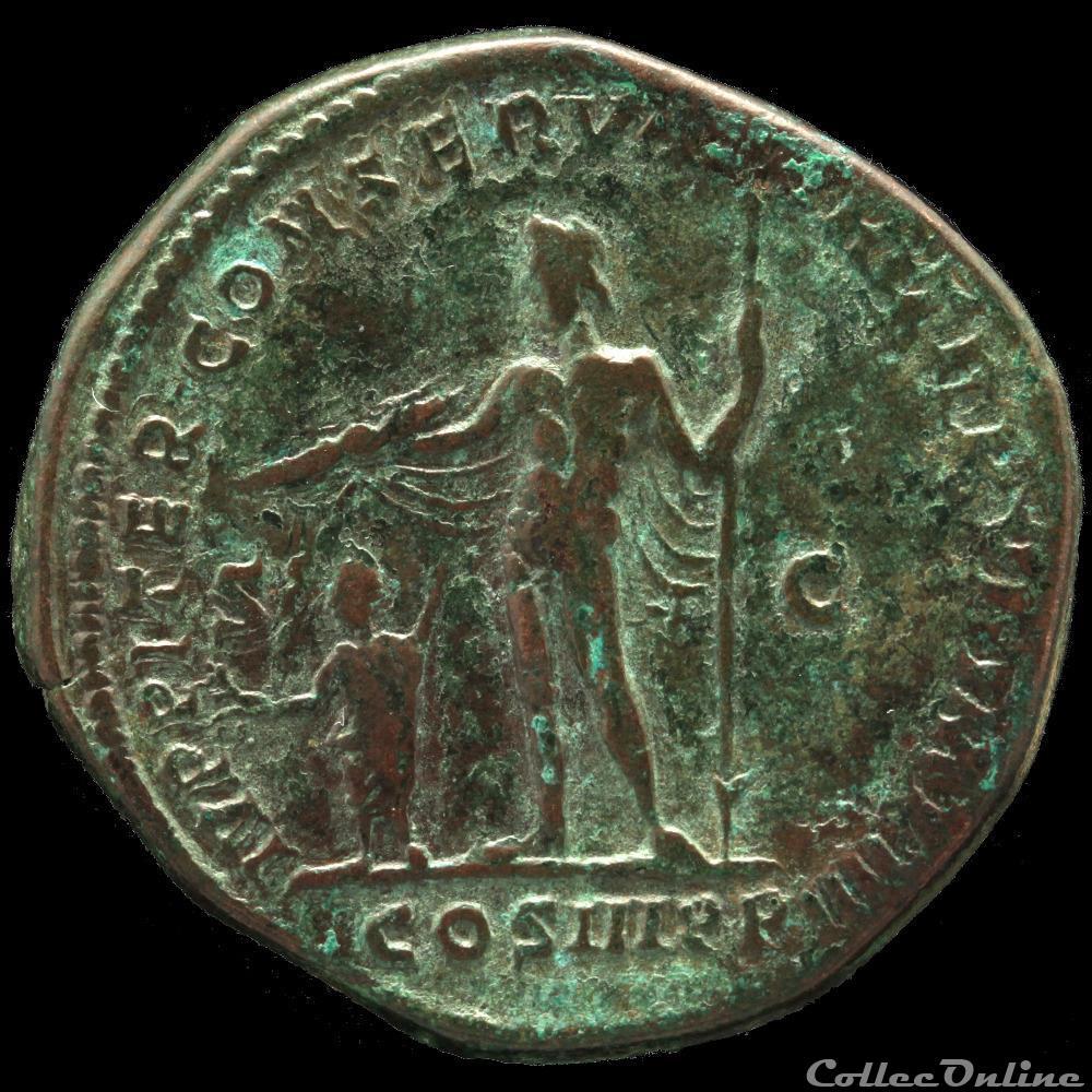 monnaie antique romaine commode 180 192 sesterce ivppiter conservator trp vi imp iiii cos iii pp sc