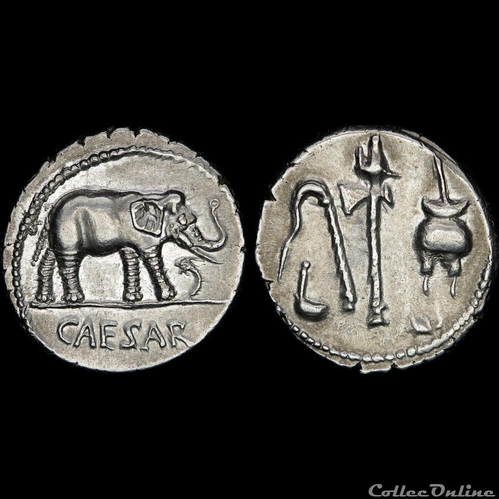 monnaie antique av jc ap romaine jules cesar 100 44 denier r instruments pontificaux