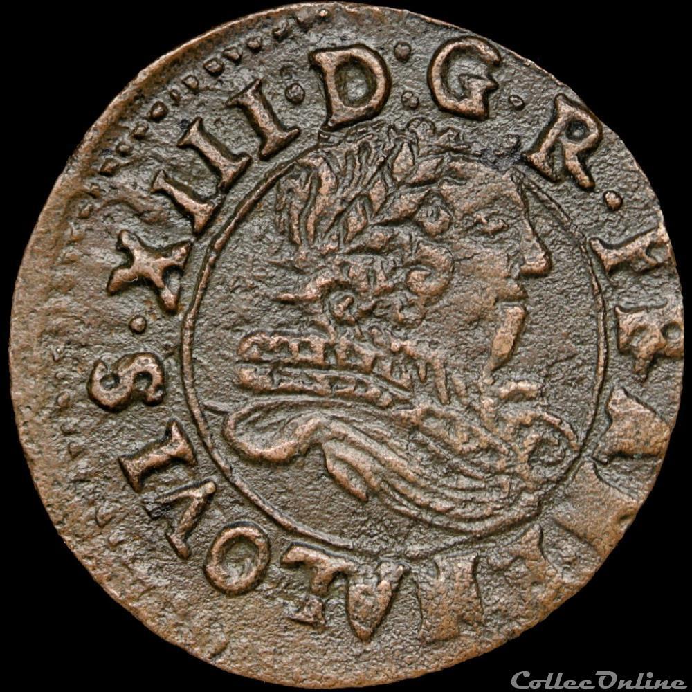 monnaie france royale cgkl 510 louis xiii denier tournois 1635 saint palais