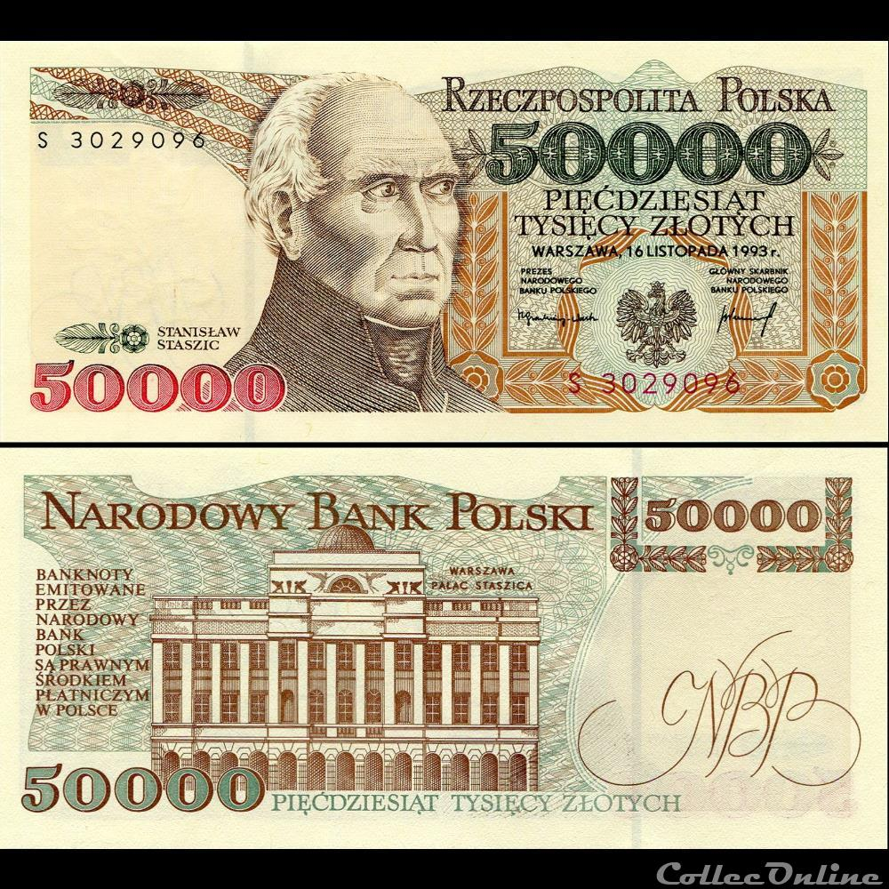 billet hongrie pologne pick 159 a 50 000 zlotych 1993