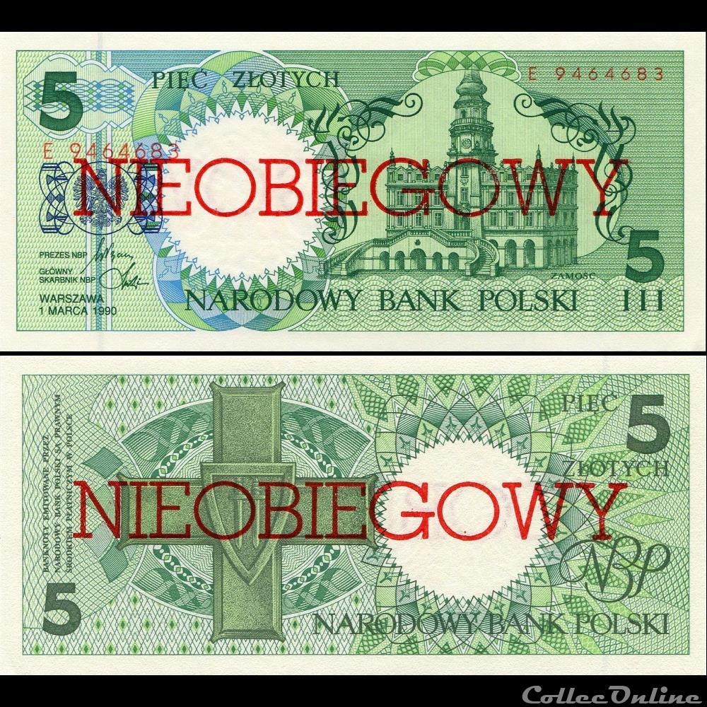 billet grece pologne pick 166 a 5 zlotych 1990