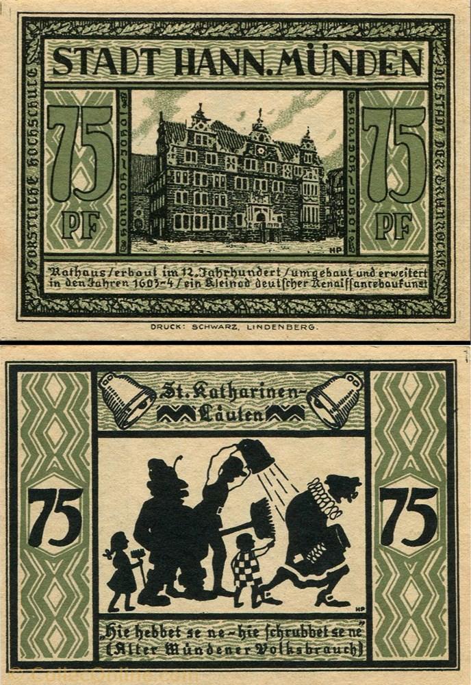 billet europe allemagne hannoversch munden 75 pfennig