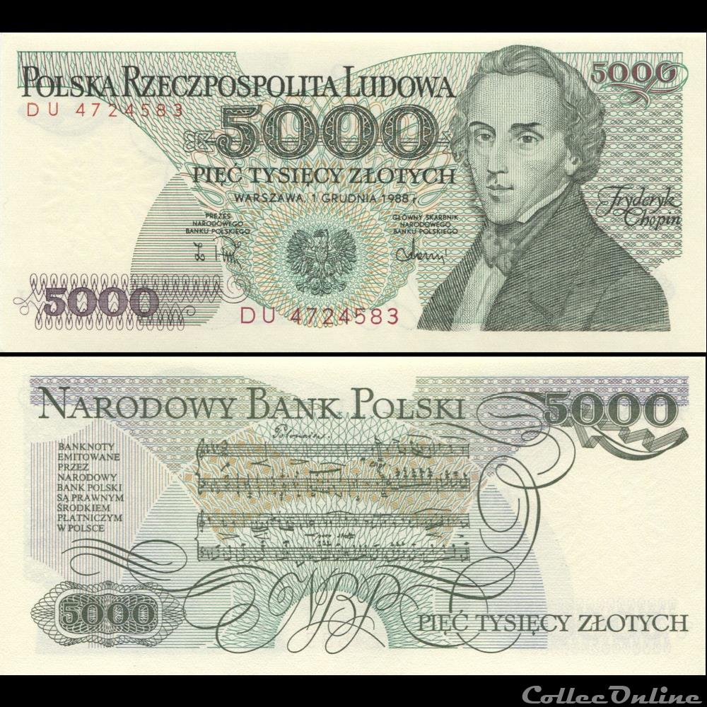 billet bulgarie pologne pick 150 c 5000 zlotych 1988