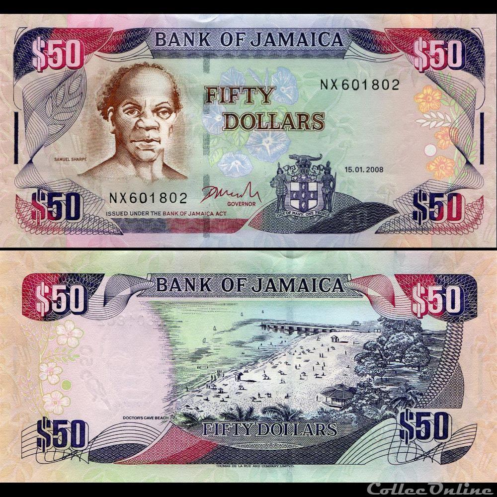 billet amerique du nord jamaique pick 83c 50 dollars 2008