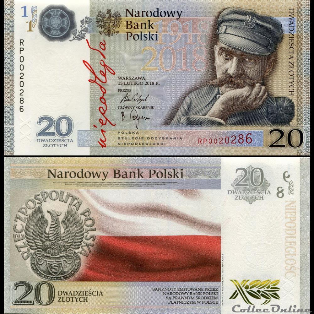billet pologne pick 192a 20 zlotych 2018