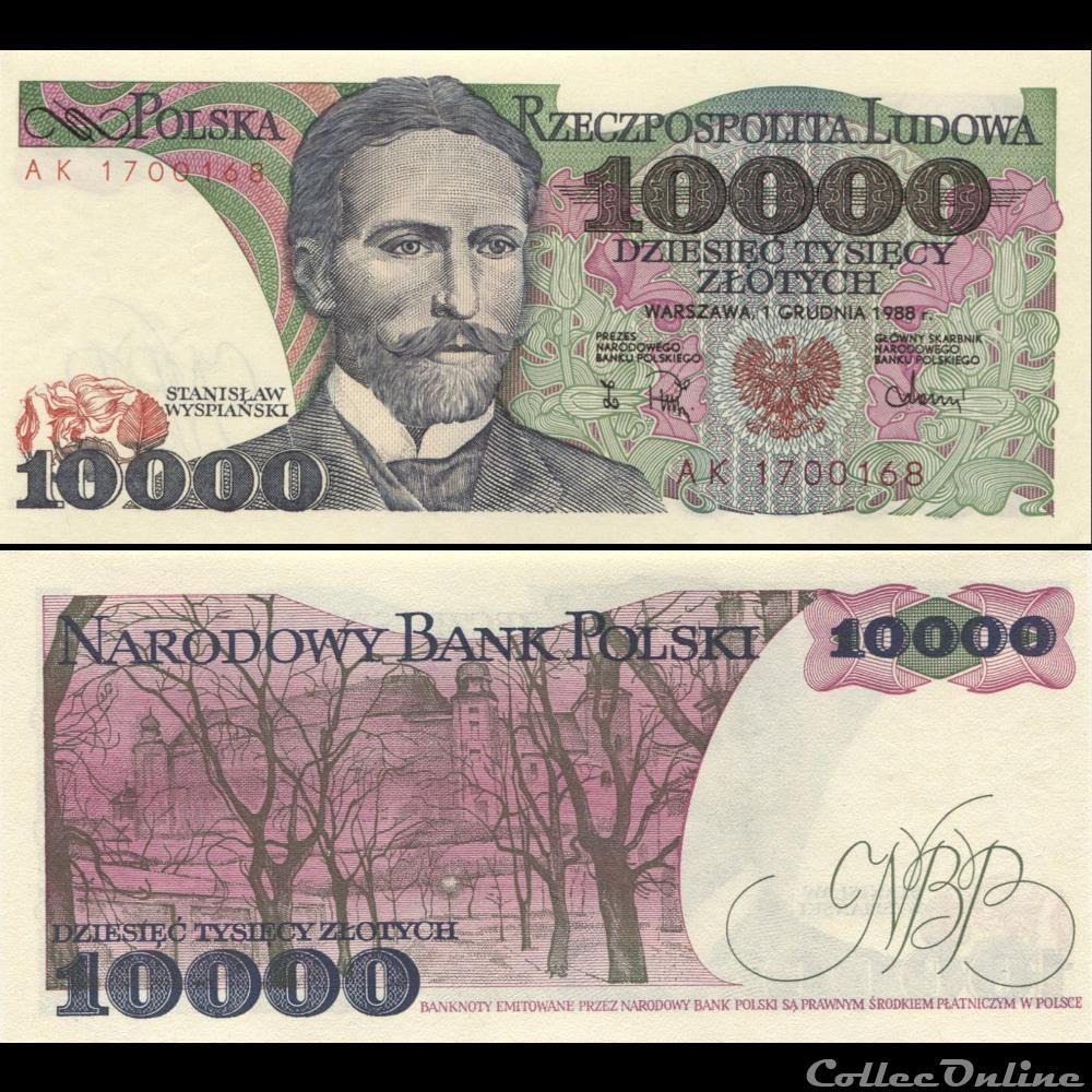 billet fidji pologne pick 151 b 10 000 zlotych 1988