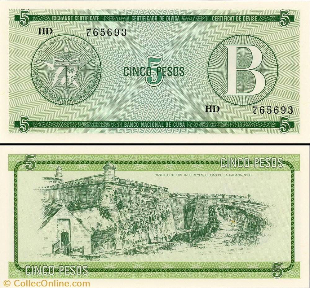 billet amerique du nord cuba pick fx 07 5 pesos 1985