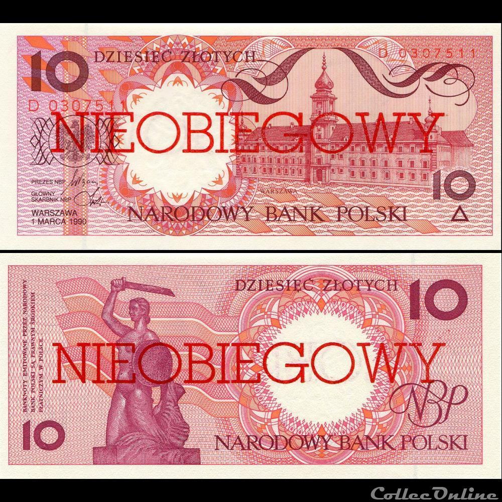 billet banque de france xxe pologne pick 167 a 10 zlotych 1990