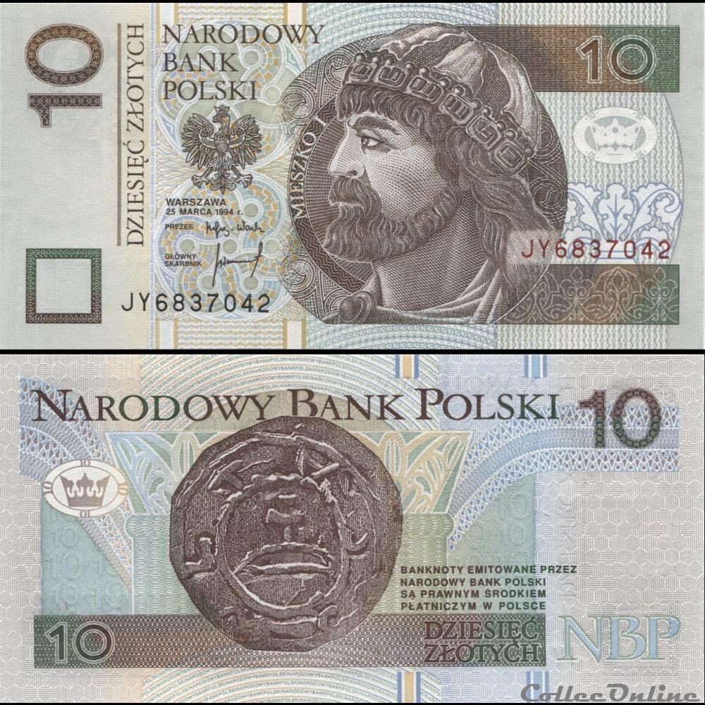 billet ouzbekistan pologne pick 173 a 10 zlotych 1994