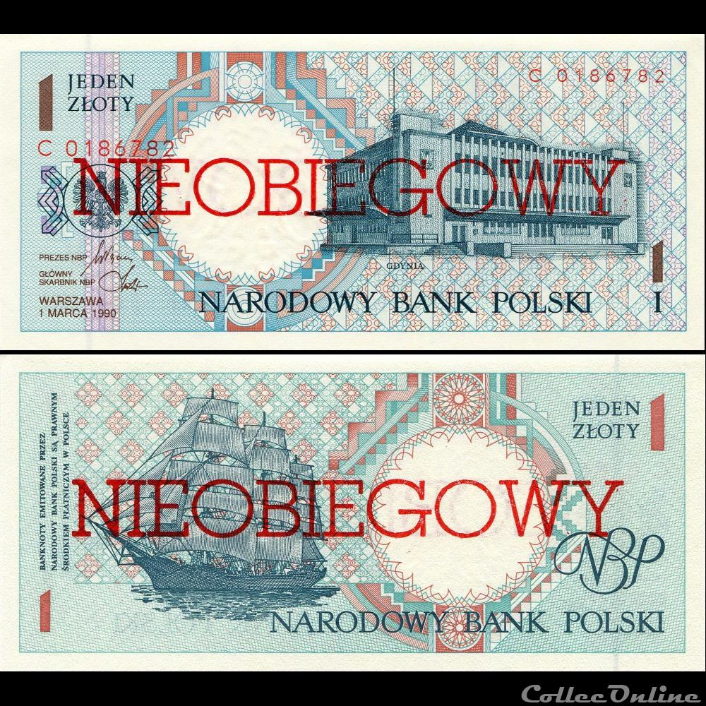 billet colombie pologne pick 164 a 1 zlotych 1990