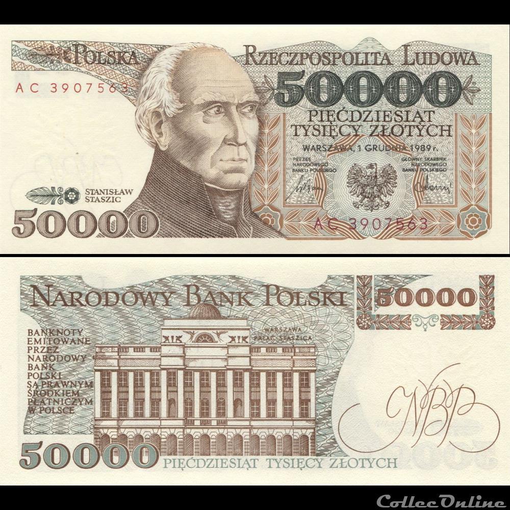 billet ukraine pologne pick 153 a 50 000 zlotych 1989