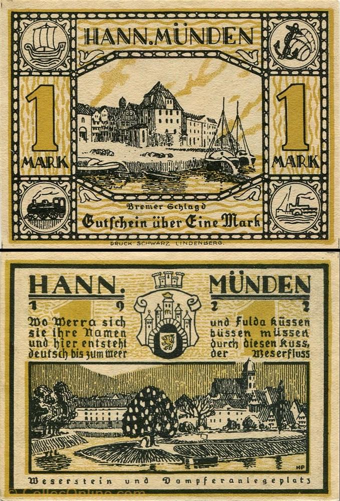 billet europe allemagne hannoversch munden 1 mark