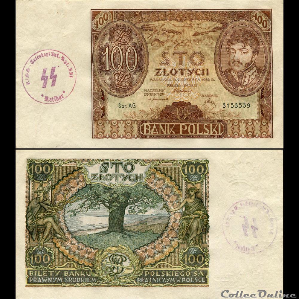 billet qatar pologne pick 74 a 100 zlotych 1932